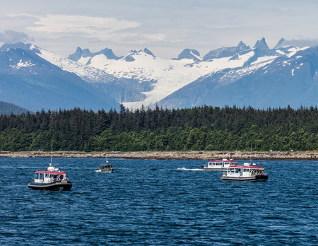 whale watching: Whale watching boats off Admiralty Island, Alaska.