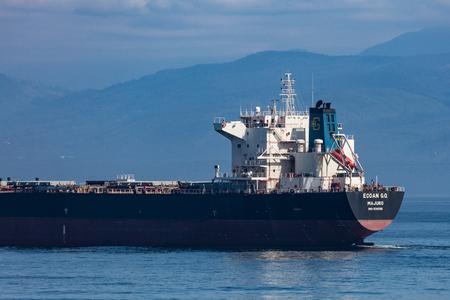 strait of juan de fuca: Container ship in the Strait of Juan de Fuca.