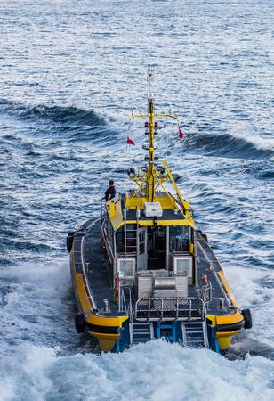 strait of juan de fuca: Pilot boat  in Victoria Harbor, Canada.
