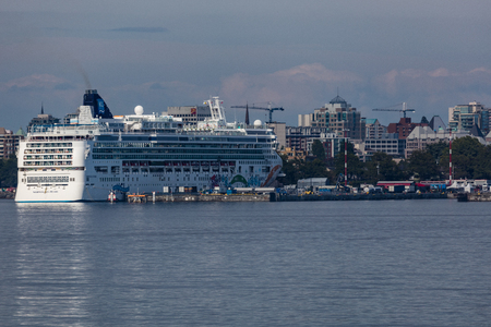 Cruise ship docked in the harbor in Victoria, Canada.
