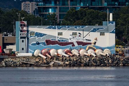 Victoria mural in Victoria Harbor, Canada.