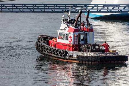 strait of juan de fuca: Tugboat in Victoria Harbor, British Columbia, Canada.