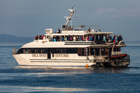 Whale watching boat in the  Strait of Juan de Fuca, British Columbia, Canada.