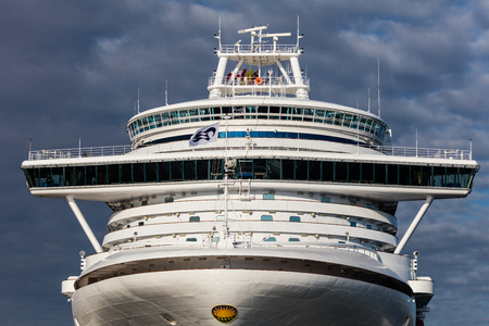 Cruise ship docked in the harbor of Victoria, Canada.