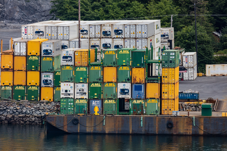 sitka: Cargo on the docks in Alaska. Editorial