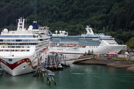 Cruise ships in port at the dock in Juneau, Alaska.