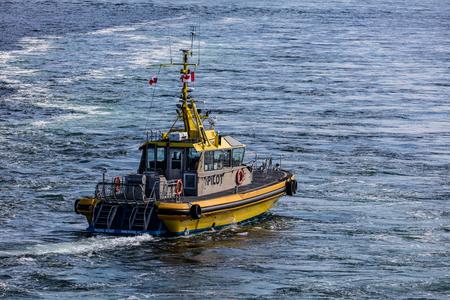 Pilot boat in the  Strait of Juan de Fuca, British Columbia, Canada.