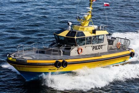 strait of juan de fuca: Pilot boat in the  Strait of Juan de Fuca, British Columbia, Canada.