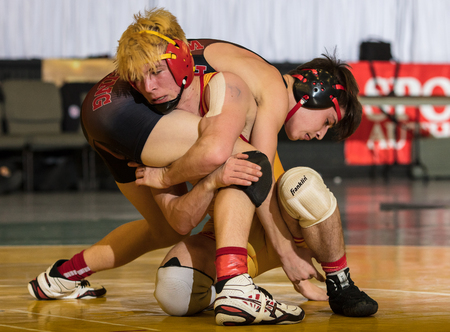 Wrestlers square off at the Northstate Masters Championships in Redding, California.