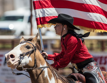 young cowgirl at the Scott Valley Rodeo in Etna, California.