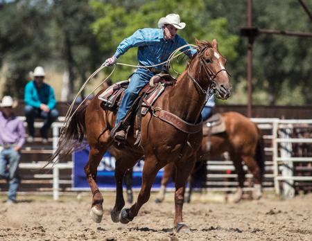 Rodeo action at the Cottonwood Rodeo in California. Editorial