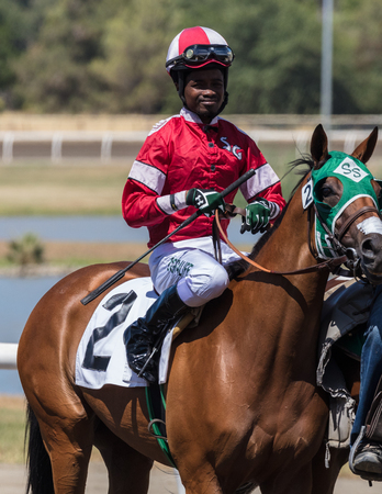 racetrack: Horse racing action at the Cal Expo Track  in Sacramento, California. July 17, 2017.