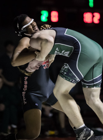 Wrestling under the spotlight with Red Bluff High School vs. Foothill in Palo Cedro, California.
