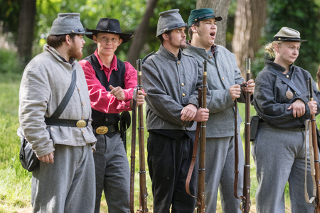 Civil War Reenactors in action at the Dog Island Reenactment in Red Bluff, California.