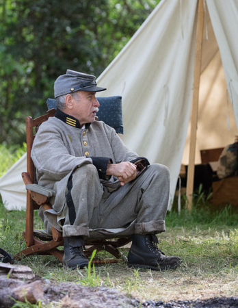 Civil War Reenactors in action  at the Dog Island Reenactment in Red Bluff, California.