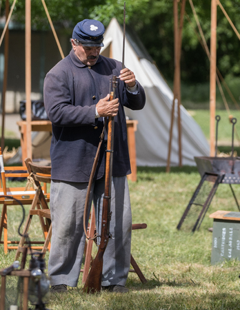 American Civil War reenactor at the Dog Island event in Red Bluff, California.