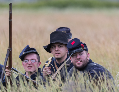 Civil War Reenactors in action  at the Union Gap Reenactment in Yakima, Washington. Sajtókép