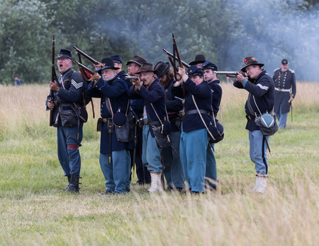 Civil War Reenactors in action  at the Union Gap Reenactment in Yakima, Washington. Editorial