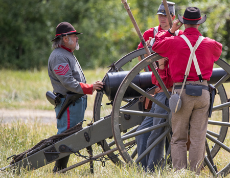 Civil War Reenactors at the Union Gap Reenactment in Yakima, Washington. Editorial