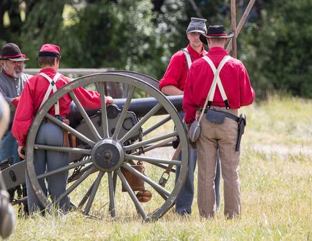 Civil War Reenactors at the Union Gap Reenactment in Yakima, Washington. Editorial