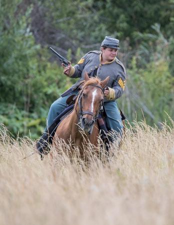 Civil War Reenactor at the Union Gap Reenactment in Yakima, Washington.