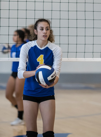 Volleyball action with University Prep vs. Pierce in Redding, California. Editorial