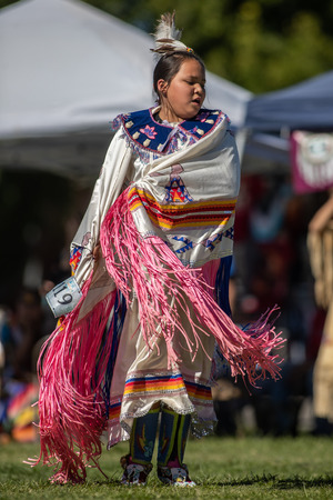 Participants dancing Native American style at the Stillwater Pow Wow in Anderson, California.