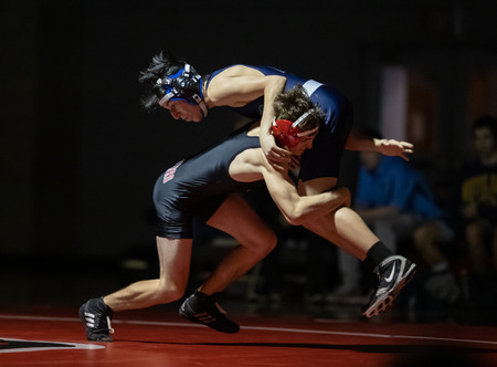 Wrestling action with Pleasant Valley vs. Foothill High School in Paolo Cedro, California.