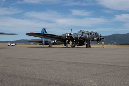 A B-17 Flying Fortress World War Two bomber on display at the airport in Hayden, Idaho.