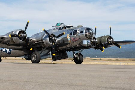 A B-17 Flying Fortress World War Two bomber on display at the airport in Hayden, Idaho. Stok Fotoğraf - 134993958