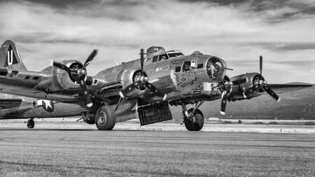 A B-17 Flying Fortress World War Two bomber on display at the airport in Hayden, Idaho. Stok Fotoğraf - 134993963