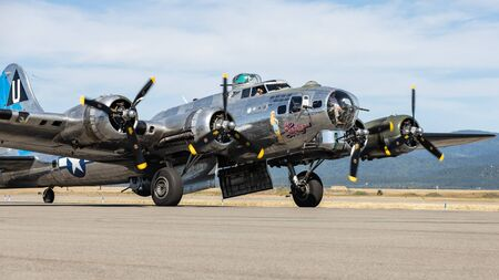 A B-17 Flying Fortress World War Two bomber on display at the airport in Hayden, Idaho. Stok Fotoğraf - 134993964