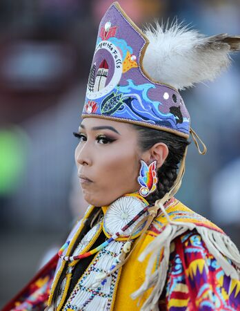 Dancers perform during the Grand Entry of the Julyamsh Pow Wow in Coeur dAlene, Idaho. 報道画像