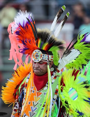 Dancers perform during the Grand Entry of the Julyamsh Pow Wow in Coeur d`Alene, Idaho.
