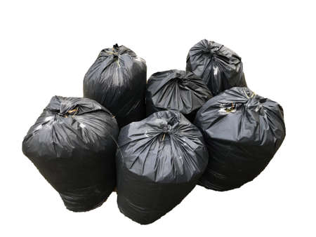 Black garbage bags isolated on a white background Stockfoto