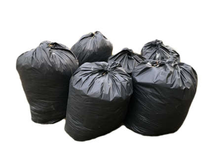 Black garbage bags isolated on a white background