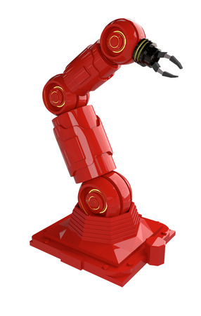 Automation industry concept with 3d rendering robot arms on white background - Illustration
