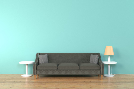 Interior of the living room. soft sofa and pillow near lamp soft color wall 3D rendering - Illustration Stock Photo