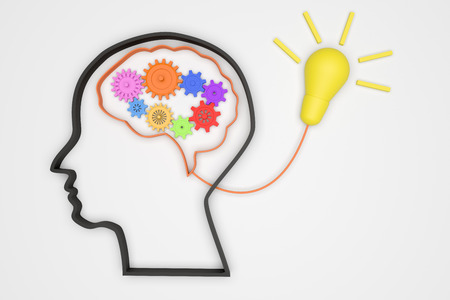 Brain 3D and gears for good idea concept  mechanism to light tube, mechanism to good idea - illustration Stockfoto