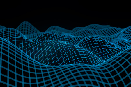 Abstract geometric background with digital landscape or waves . Montain wireframe hologram 3 D rendering