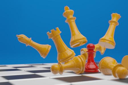 Juego de mesa de ajedrez, concepto competitivo empresarial, copia espacio 3D rendering