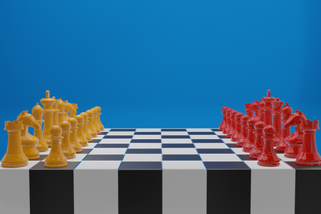 Chess board game, business competitive concept, copy space 3D rendering