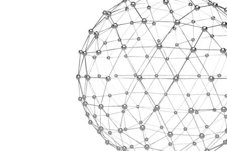 Abstracte 3D-weergave van laag poly metalen bol met chaotische structuur. Sci-fi achtergrond met draadframe en globe in lege ruimte. Futuristische vorm.