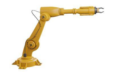 Diferentes robots industriales aislados sobre fondo blanco Representación 3D brazo robótico blanco con espacio en blanco sobre fondo blanco - Ilustración