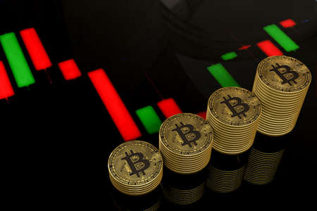 Golden bitcoin isolated Bitcoin BTC Cryptocurrency Coins. Stock Market Concept. Business concept, bitcoin with background 3D rendering