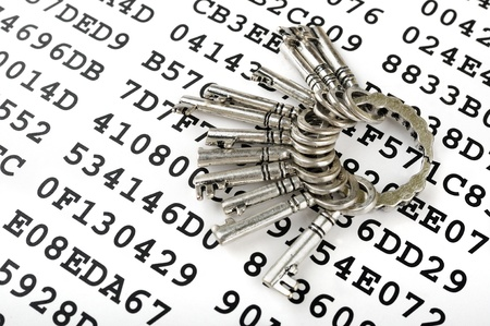 Bunch of silver keys on a sheet with encrypted data Stock Photo