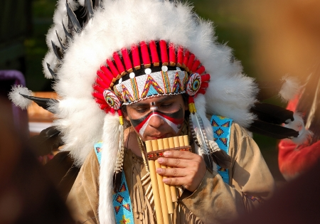 American Indians performing folk music Stock Photo - 13847410