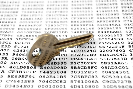 encrypted: Key on a sheet with encrypted data