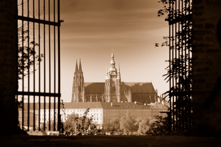 View of St Vitus Cathedral and Prague Castle from Petrin hill, Prague, Czech Republic  Sepia toned image