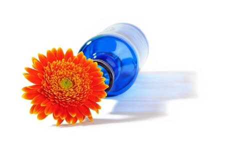 Orange gerbera flower in blue bottle throwing a shadow on a white background Stock Photo - 14047653